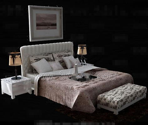 Link toWhite bedside pink floral double bed 3d model
