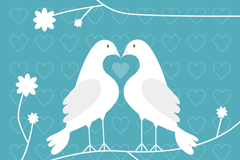 Link toWhite couple birds on a branch vector