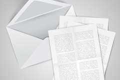White envelopes and letters, vector