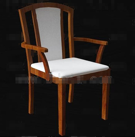 Link toWhite fabric cushion wooden chairs 3d model
