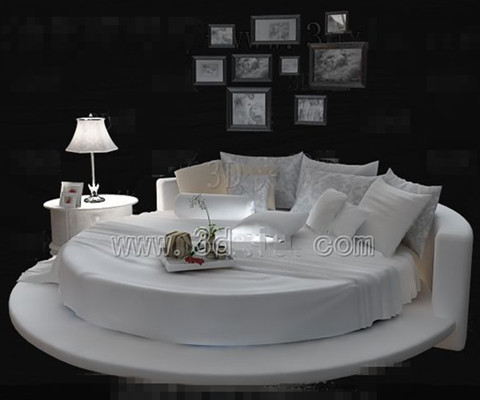 Link toWhite fashion personality round double bed 3d model