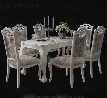 Link toWhite floral pastoral style dining table 3d model