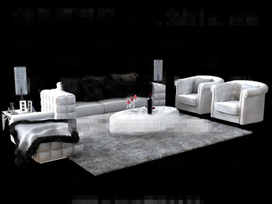 Link toWhite fur sofa tea table combination 3d model