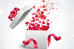 Link toWhite gift box filled with love vector
