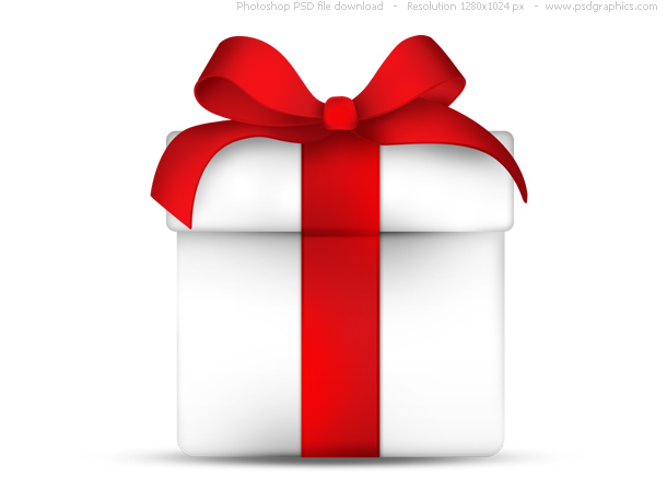 Link toWhite gift box with red ribbon bow, psd icon