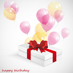 White gift boxes with balloons vector