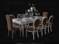 Link toWhite long-shaped dining table combination 3d model