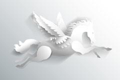 Link toWhite paper-cut design of pegasus vector