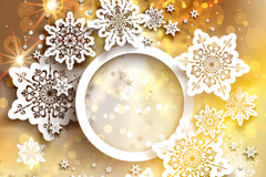 Link toWhite paper snowflakes gold card vector