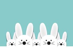 White rabbit sticker vector background