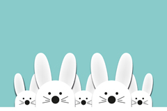 Link toWhite rabbit sticker vector background