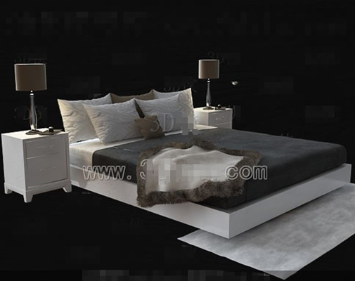 Link toWhite simple double bed 3d model