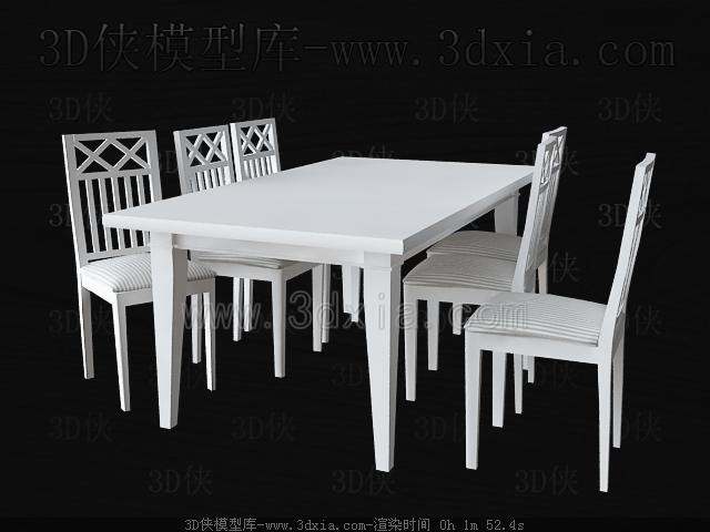 Link toWhite square table and chairs 3d model