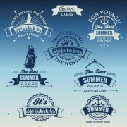 Link toWhite with dark blue summer travel labels vector 01 free