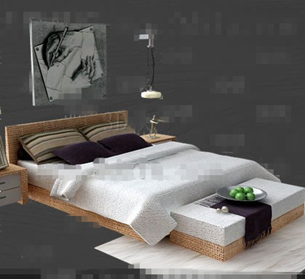 Link toWhite wooden double bed 3d model
