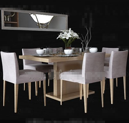 Link toWhite wooden simple dining table 3d model