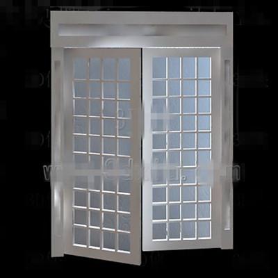 Link toWhite wooden simple glass door 3d model