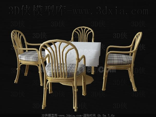 Link toWicker chairs and dining table 3d model