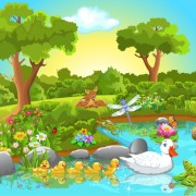 Link toWild animal and natural scenery design vector set 01 free