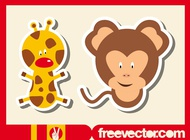 Link toWild animals stickers vector free