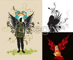 Link toWings and female pattern vector