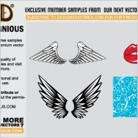 Link toWings, lips and pattern vector samples