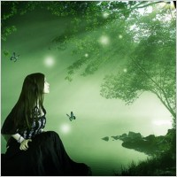 Link toWoman in green forest psd