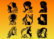 Link toWoman profile silhouettes vector free