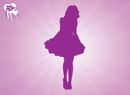 Link toWoman wearing dress silhouette vector free