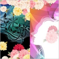 Link toWoman with flowers vector 5