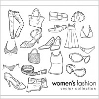 Link toWomen wear clothing line drawing vector goods