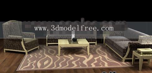 Link toWood cloth soft sofa combination 3d model