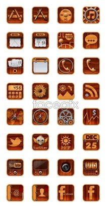 Link toWood style mobile icons
