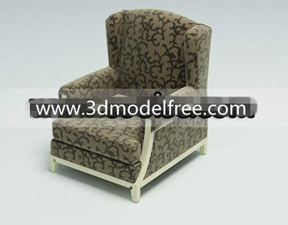Link toWooden bottom fabric single sofa 3d model