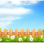 Link toWooden fence with nature vector background free