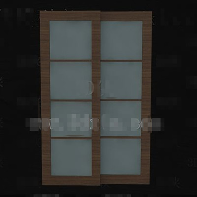 Link toWooden glass horizontal pull double doors 3d model