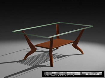 Wooden glass tea table 3d model