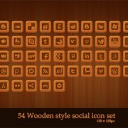 psd set icon web social style Wooden