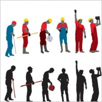 Link toWorkers with the silhouette image 03 vector