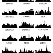 Link toWorld famous cities silhouettes vector set 04 free