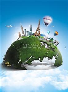 Link toWorld globe dreams psd
