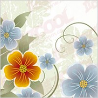 Link toYellow and blue flowers vector material