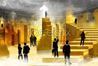 Yellow ladder business silhouette high resolution images
