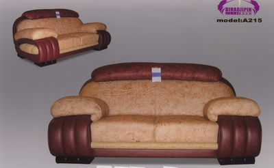 Link toYellow leather sofa 3d model over the boss