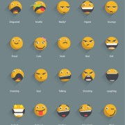 Link toYellow shadowed emoticons icons vector free