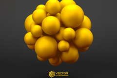 Link toYellow three dimensional ball background vector